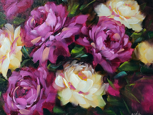 """Magenta peonies"" horizontal oil painting."