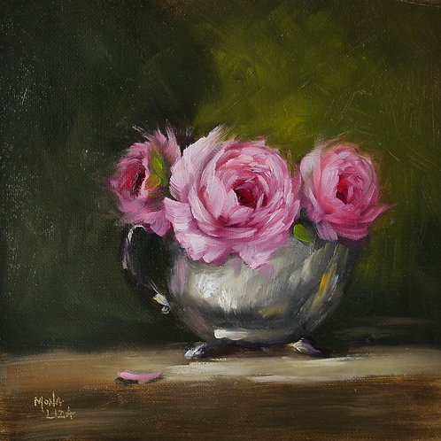 """Pink roses from my garden"" square original oil painting."