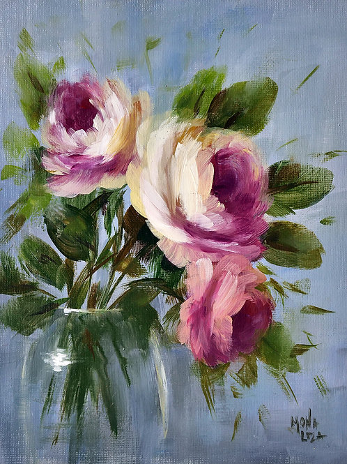 """""""Trio of roses in a vase"""" vertical acrylic painting"""
