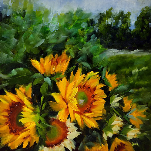 """Lynsey's field of sunflowers"" original square oil painting"