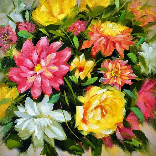 """""""Garden of dahlias and zinnias"""" square oil painting"""