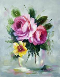Vase of pink roses