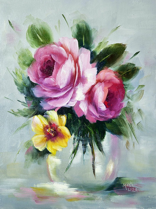 """""""Vase of pink roses"""" vertical acrylic painting"""