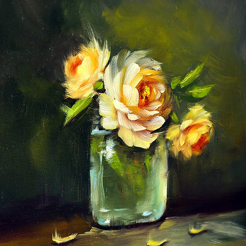 """St. Tropez roses"" square oil painting"
