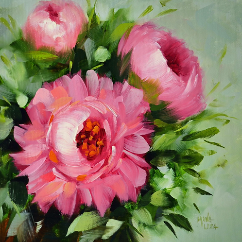 """Pretty pink peony and buds"" square oil painting"