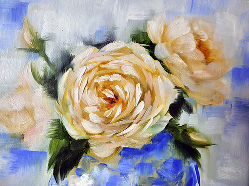 A Vase of Joan Fontaine Roses