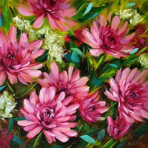 """""""Krista's pink mum garden"""" original square oil painting"""