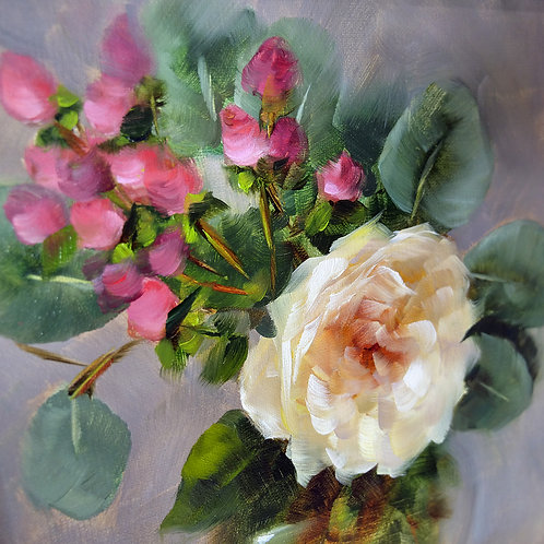 Joan Fontaine Rose with Eucalyptus