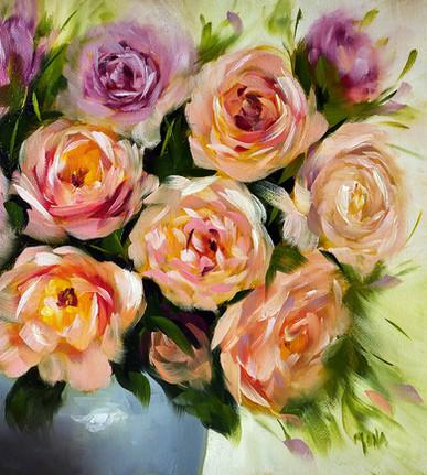 Bouquet of Garden Roses - SOLD