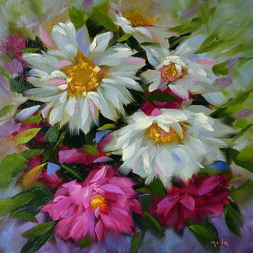 """""""Krista's garden cosmos"""" square original oil painting"""