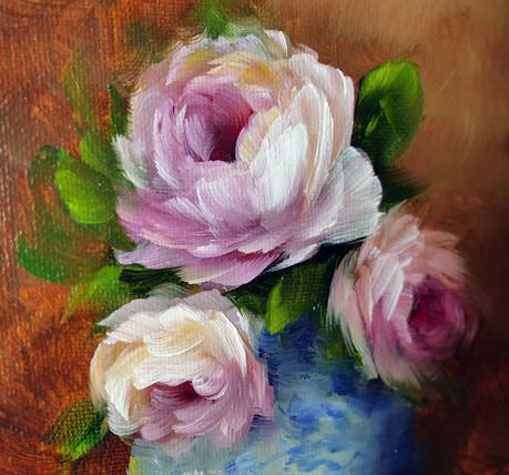 Garden roses in a vase