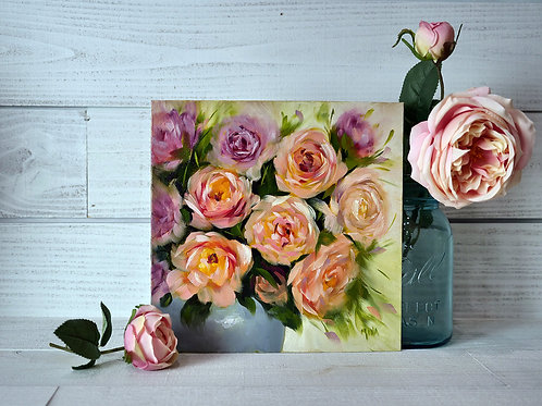 """Bouquet of garden roses"" square original oil painting"