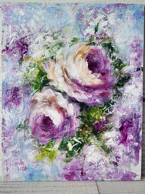 """""""Abstract roses"""" vertical acrylic painting."""
