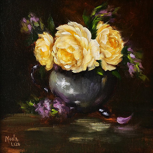 """Joan Fontaine roses"" square oil painting"