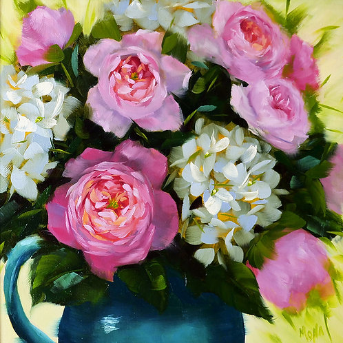"""""""Roses and hydrangeas"""" square oil painting."""
