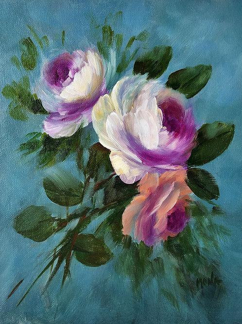 """Nightfall roses"" vertical acrylic painting"