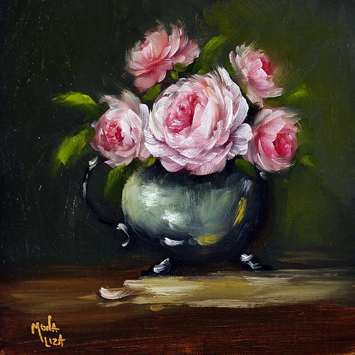 """Pink garden roses"" square oil painting"