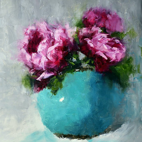 """Fresh pink peonies"" square oil painting"