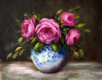 A vase full of Princess of Alexandra of Kent roses from my rose garden - Sold