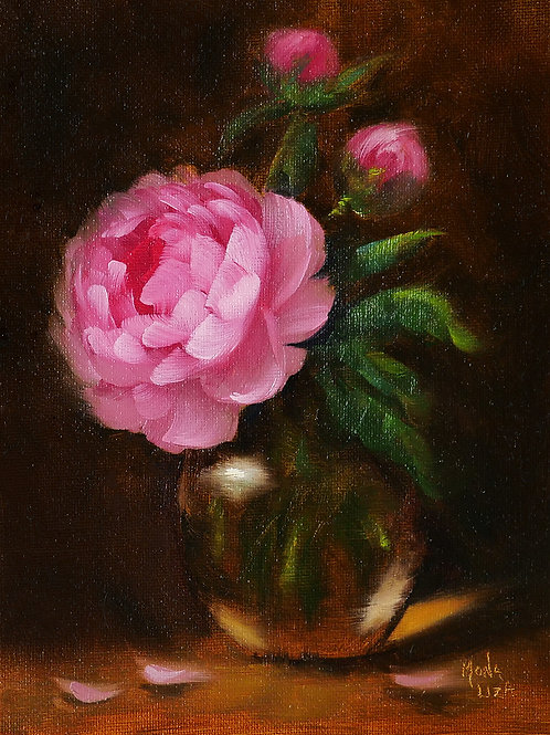 """""""A single pink peony"""" vertical oil painting"""