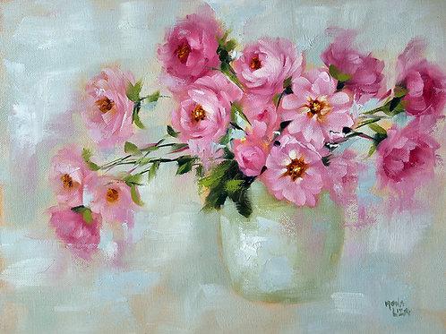 """Kimberely's garden roses"" horizontal oil painting"