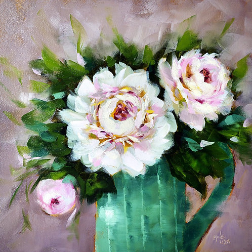 """White peonies"" square oil painting"