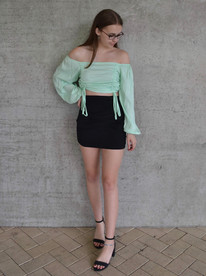LIME RUCHED TOP