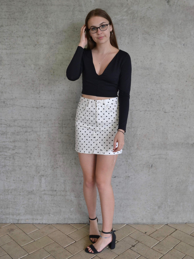 POLKADOT DENIM SKIRT