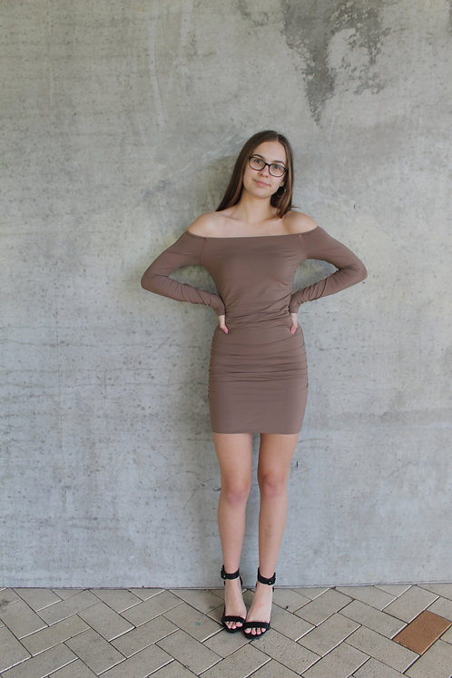 Brown Off Shoulder Bodycon