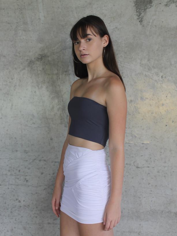 White Ruched Skirt