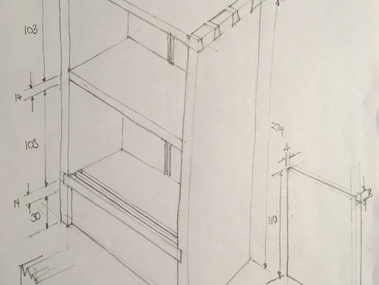 A dimensioned drawing for a 'Key Cabinet' you can make yourself....