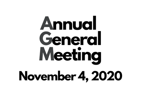 Our AGM is on November 4th!