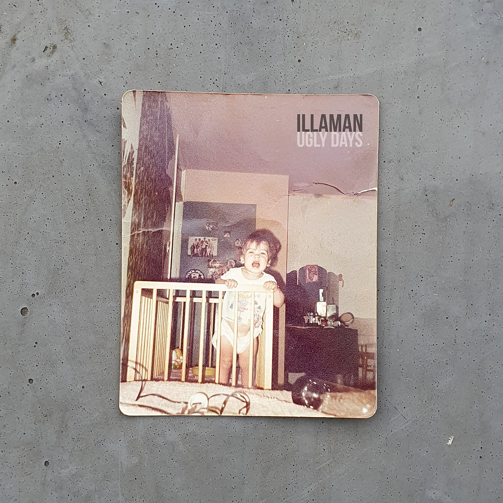 Ugly Days album cover. Polaroid toddler photograph of Illaman stood up in a cot.