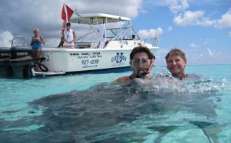 Snorkelers at Stingray Sandbar