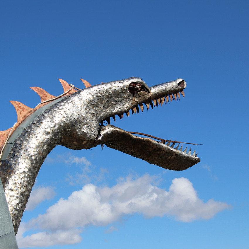 this dragon is one of the most central focus points you notice driving up to the property