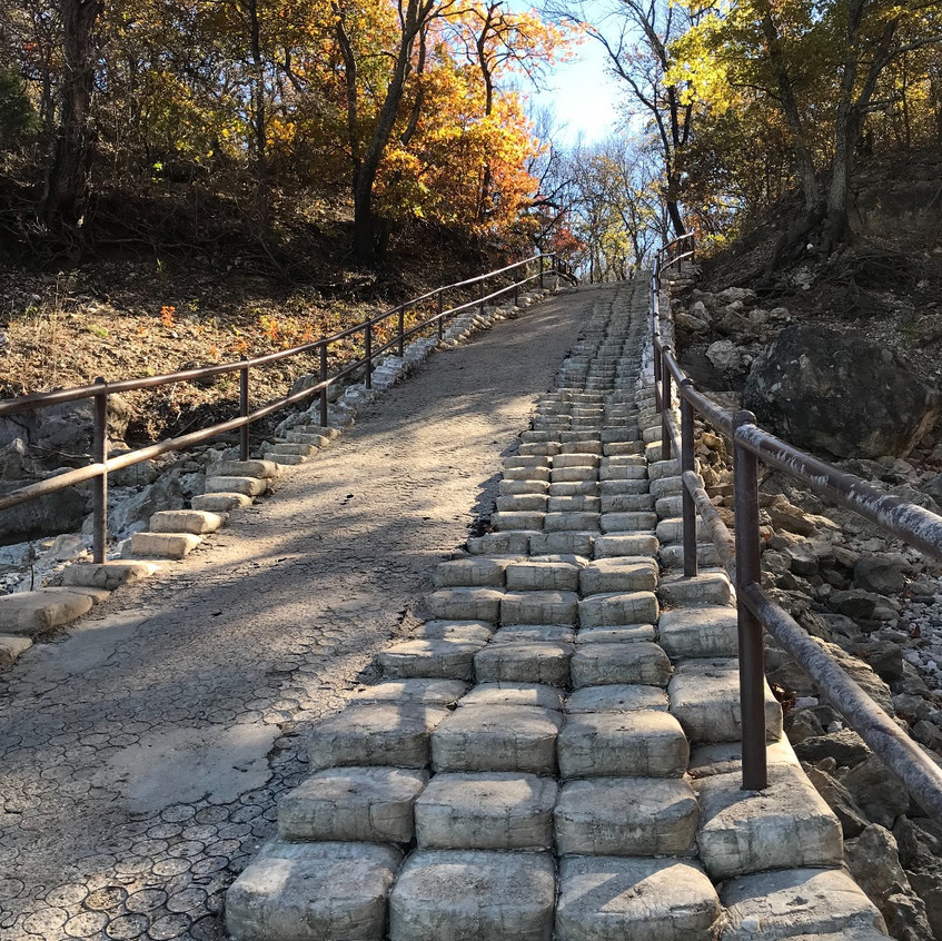 These unique stairs are throughout the park created by bags of concrete being cured in their bag and then placed together and cemented into place.