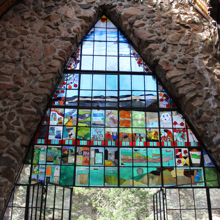used in both this room and the lower room stained glass brightens this structure even on the most dim of days