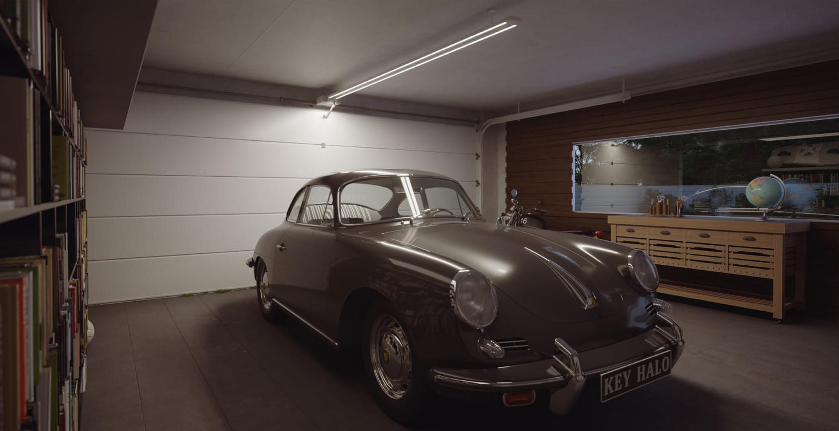 Innside av garasjeport med HALO portåpner
