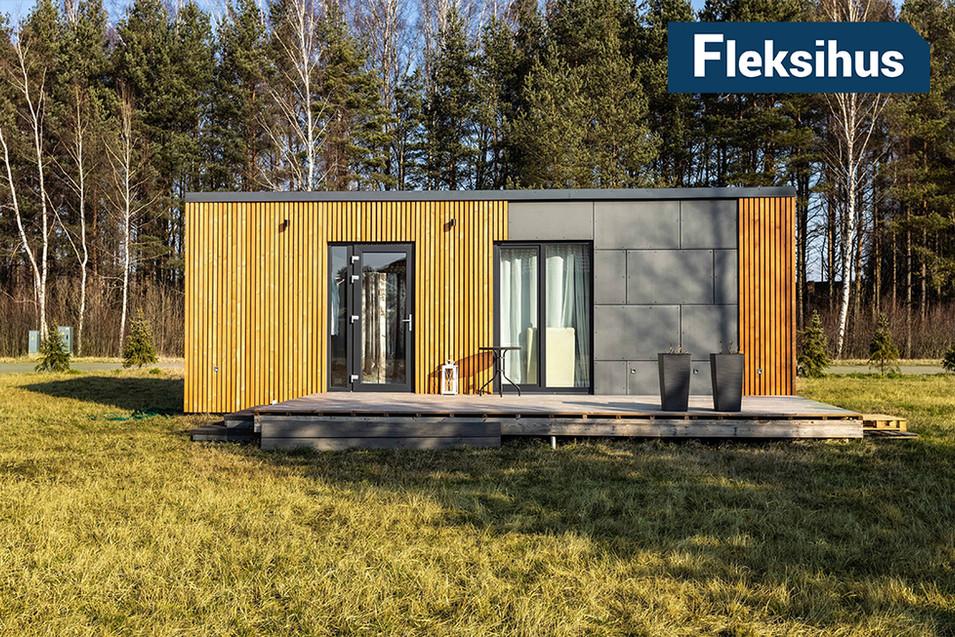 Fasade av 25 kvadrats minihus