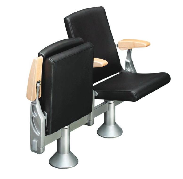 Space max auditoriestoler i svart med armlener i tre