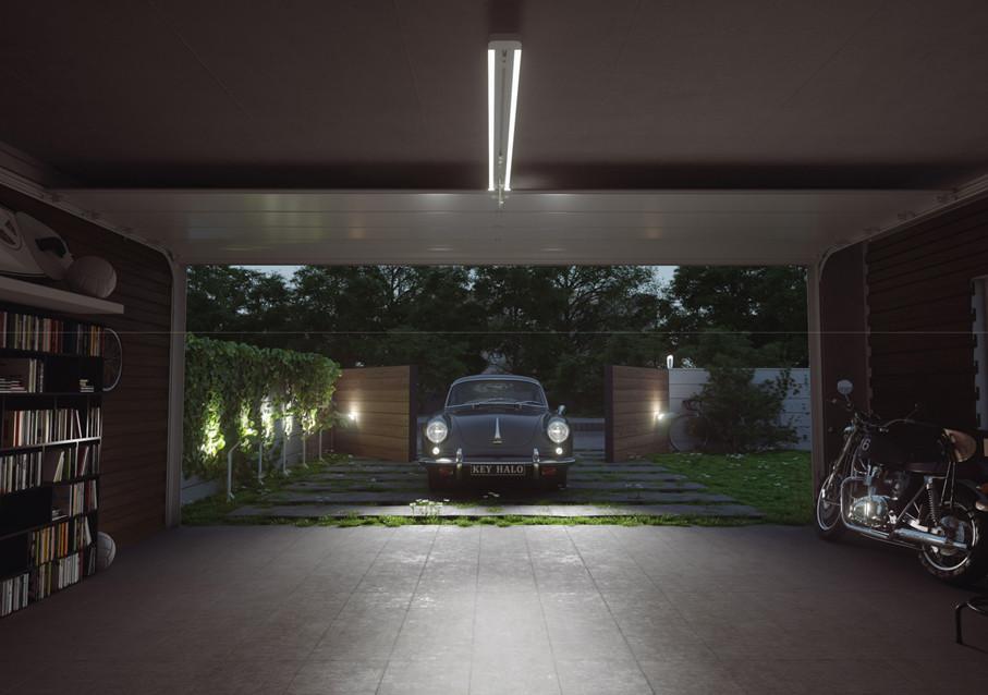 Visualisering Halo Garasjeportåpner med lys