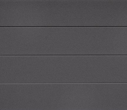 Nærbilde av Eurodoor Antrasitt garasjeport med slett panel.