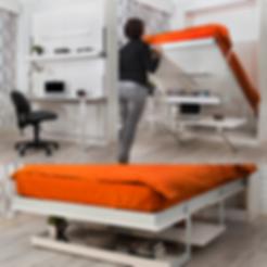 Skapseng med kontorpult for kombinert kontor og gjesterom