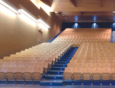 Eksempelløsning på auditorie med stoler i tre