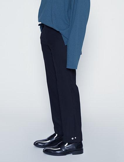 Black Side Slit Snap Button Pants