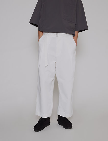 White Belted One Tuck Pants