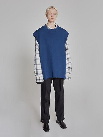 Blue Cut Sewn Oval Vest