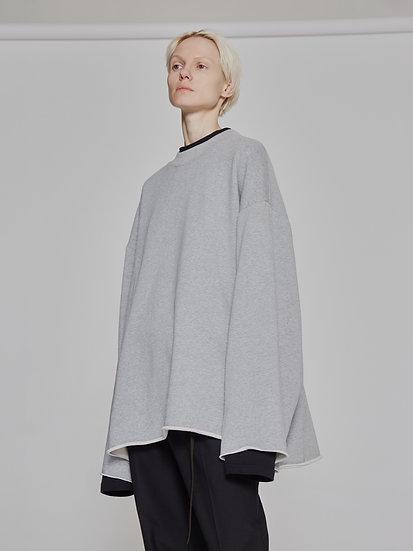 Grey Oversized Raw Edge Crewneck Sweatshirt
