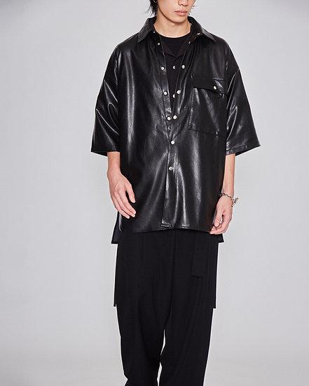 Black Synthetic Leather Short Sleeve Lab Shirt