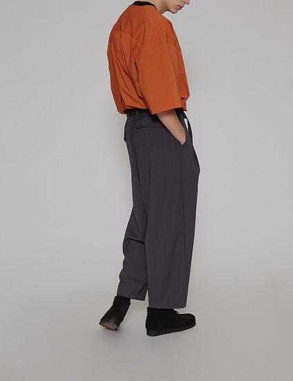 Grey Gabardine Belted One Tuck Pants